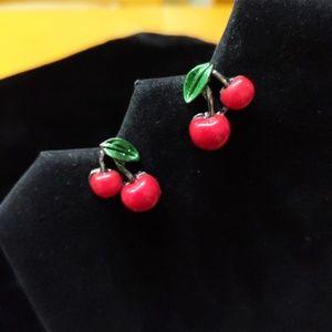 Enamel Cherry Earrings
